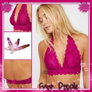 New Free People Galloon Lace Halter Bralette XS